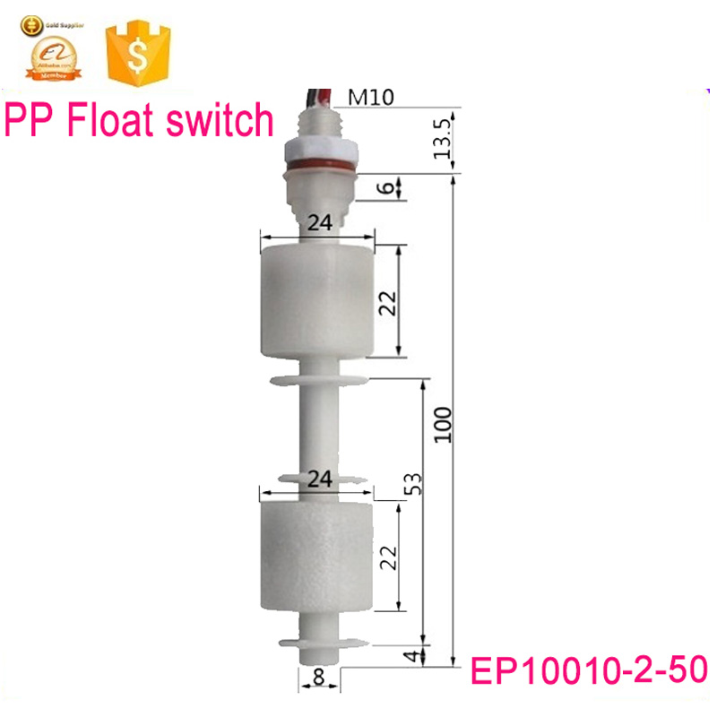 EP10010-2-50 dual point controll water level magnetic sensor circuit float switch GOOD New Length100mm <strong>M10</strong>