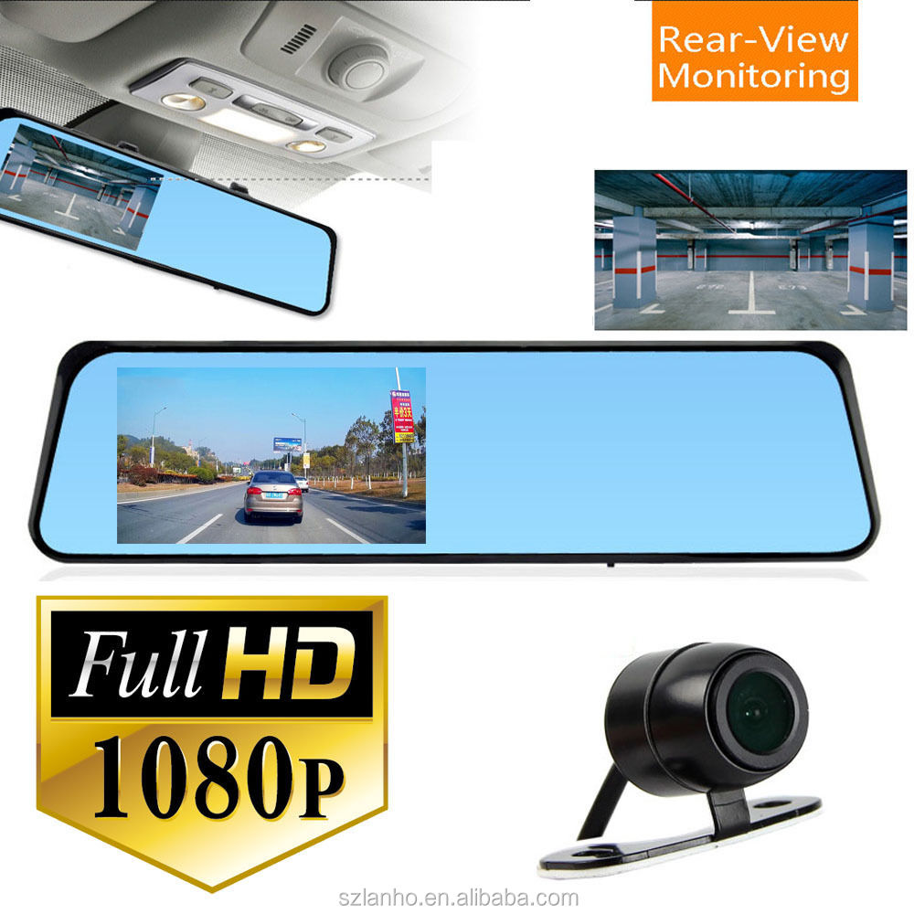 "HD 4.3"" Dual Lens Video Recorder Dash Cam Rearview Mirror Car Camera DVR CEG85"