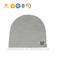 Custom no fold brim embroidery winter acrylic kintted beanie hat
