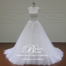 Romantic Luxury Sweetheart 2017 Alibaba Tea Length Wedding Dress A-Line Lace Wedding Gown