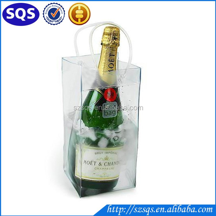 Hot Sale Clear Transparent PVC Champagne Wine Pouch Cooler Bag with Handle