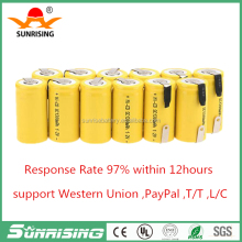 Sub C SC 1.2V 1300mAh Ni-Cd NiCd Rechargeable Battery with tabs-Yellow