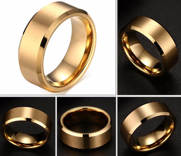 Wholesale Tungsten Mens Jewelry Ring,Simple New Design Gold Finger Ring For Boys Without Stones,Custom Blank Men's Ring