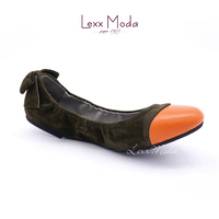 New Fashion design rollable foldable Leather casual women flat shoes