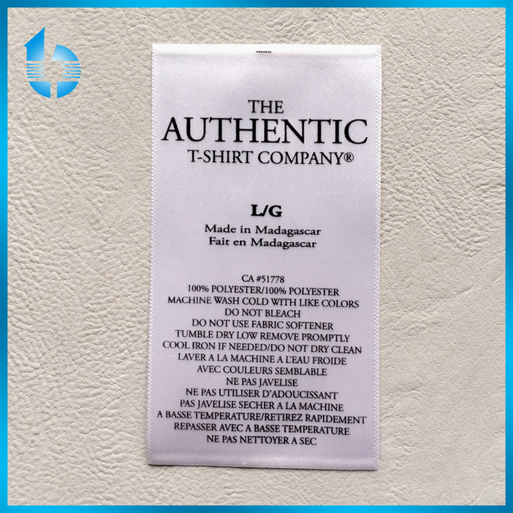 Polyester Washing Label, Soft Satin Fabric Print Care Label for textile