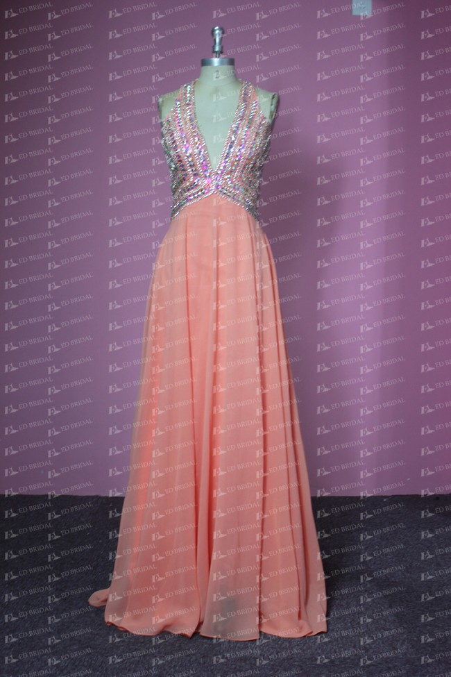JA009 Real Sample Deep V Backless Heavy Beading Sexy Evening Dress Online Shopping