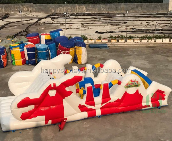 Small size obstacle course red and white color chinese dragon style obstacle course for sale
