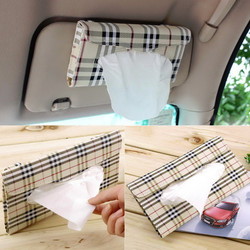 Tissue box cover Car sun visor Tissue box Auto accessories holder Paper napkin clip- PU leather Case Free Shipping#