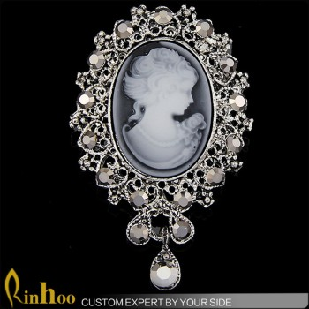 Jewelry Wholesale China Brooch On Factory Price Vintage Cameo Brooch Fashion Design Crystal Brooch