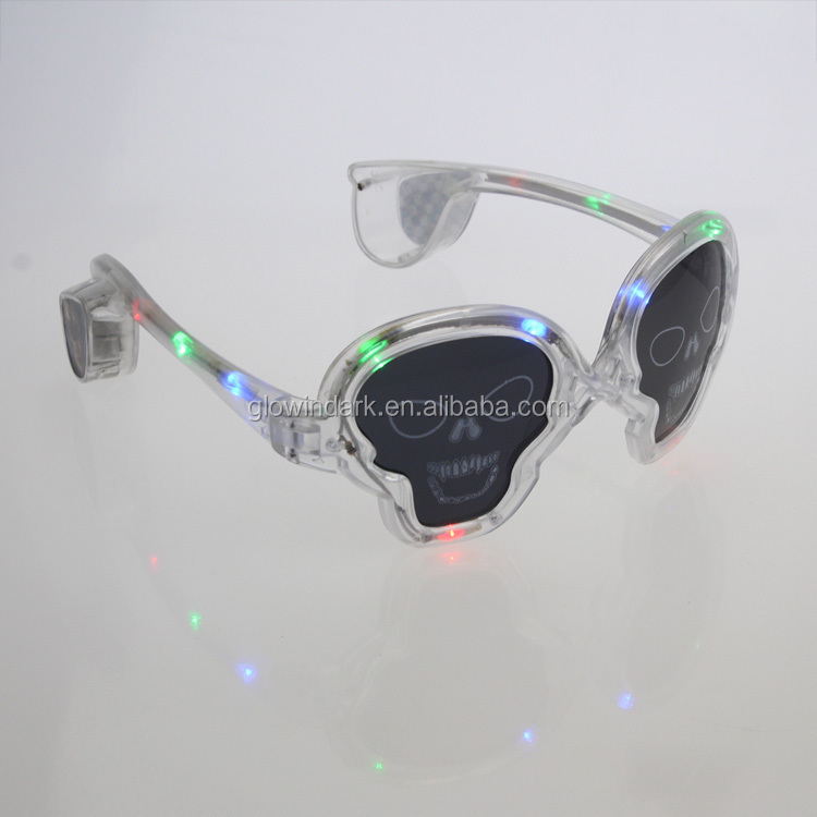 Hot sale promotional colorful eye ware LED blinking sunglasses,flashing light up LED skull sunglasses for halloween