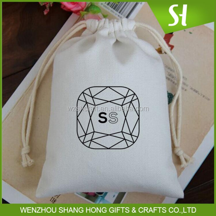 Fancy gift wrapping cotton linen drawstring pouch