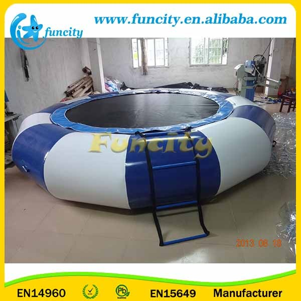 Blue and White Air Bouncer Inflatable Trampoline / Water Trampoline By Hot-welding Machine