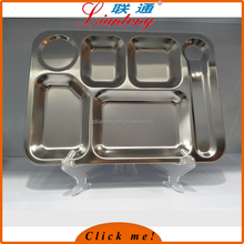 6 compartment stainless steel big size fast food snack tray food serving tray