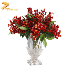 Artificial plastic red berry High Quality for Christmas artificial berry blossom branch fake plants