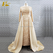 Golden Sequin Lace Long Sleeve Muslim Mother Of The Bride Dress With Detachable Train