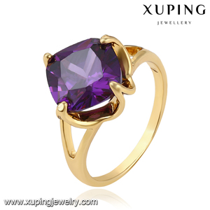 11585 Xuping fine gold jewelry, fake gemstone single stone rings wedding engagement