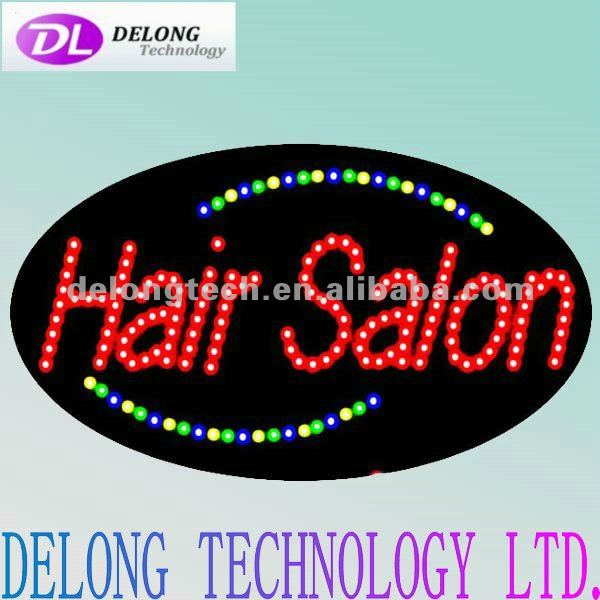 CE RoHS oval 68X38cm illuminated open closed led hair salon haning light sign