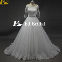 Original Design Short Sleeve Lace Appliques Covered Back Puffy Tulle Skirt White Wedding Dress 2017