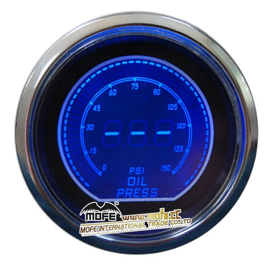 "Blue Universal Original Logo 52mm 2"" Stepper Motor Blue/ Red LCD Display Oil Press Pressure Gauge With Sensor"