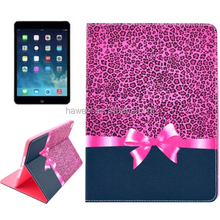 Hot wholesale Leopard Texture Bowknot Pattern Smart Leather Case for iPad Air