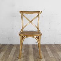 KVJ-7002-3 summer vintage wood cane seat cross back chair for general use