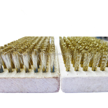 Square flat wooden block copper wire brush