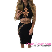 Adult Women Clubwear Black Daring Sexy Lace Up Cut Out Two Piece Skirt Set