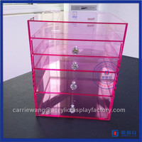 China supplier 6 drawer acrylic makeup organizer / Pink 6 drawer acrylic makeup organizer