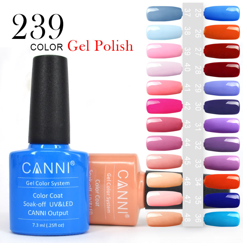 #30917J High Quality Factory Price nail art wholesale CANNI 239 colours soak off uv nail gel polishes