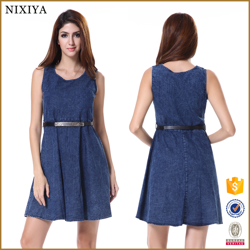 Denim A-line Flare Short Dress Latex Clothing for Women