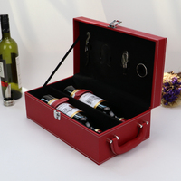 Latest Arrival trendy style handmade pu leather red color wine box packaging wood mdf gift box set case