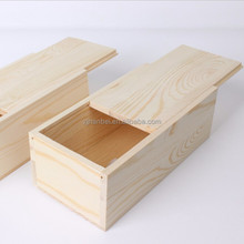 Unfinished sliding lid wooden packaging boxes for tea tin