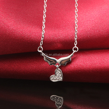 925 sterling silver heart wing necklace, sparkle heart wing necklace for girl, party, gift,