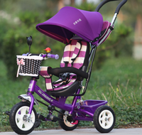 High Quality Steel Frame 4 in 1 Stroller Baby Pram Tricycle with EVA/Air Tyre,Cheap Kids Tricycle, Baby Tricycle