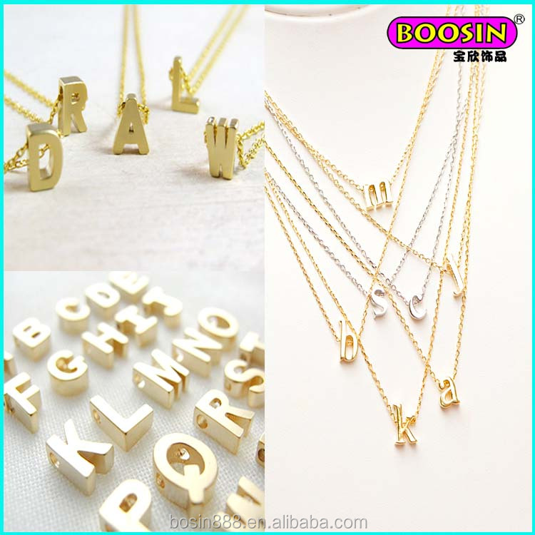2015 fashion cheap custom initial engrave alphabet 18 gold necklace designs in 10 grams