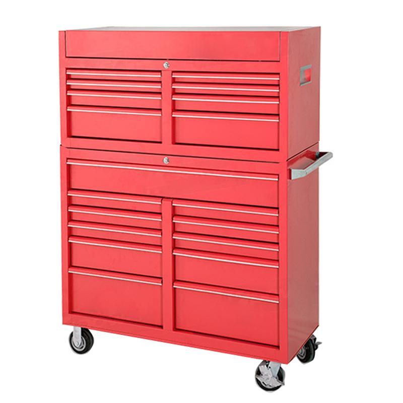 Us general pro 26 inch 16 Drawer Glossy Red Roller Cabinet Combo