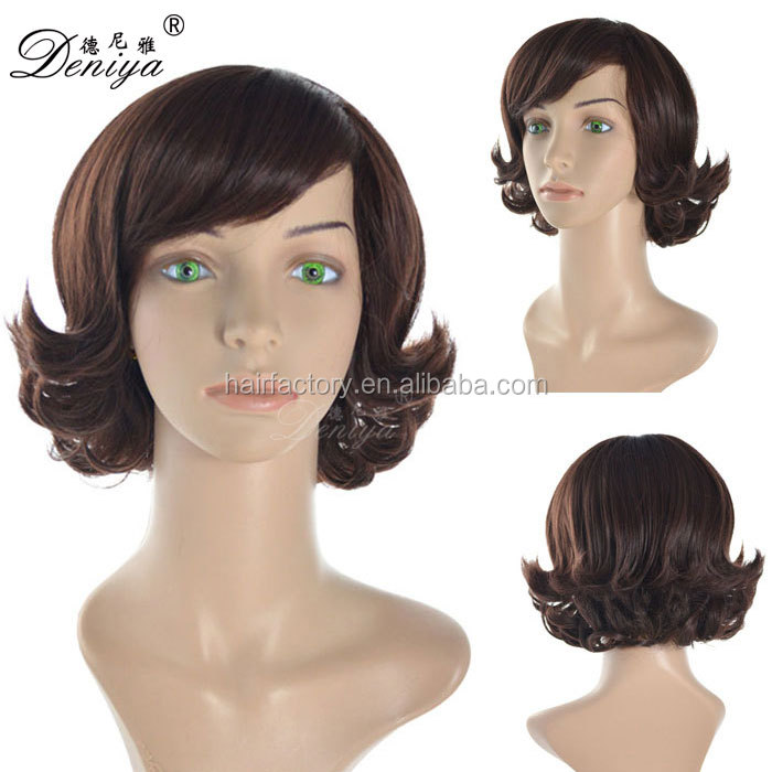Side bang short synthetic modern machine made wig for lady