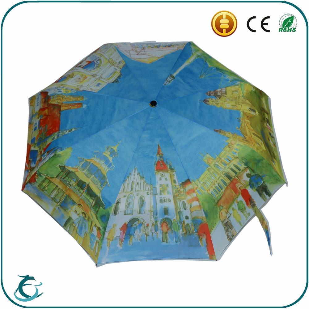Honsen fashion custom heat transfer full printing fold umbrella for sale