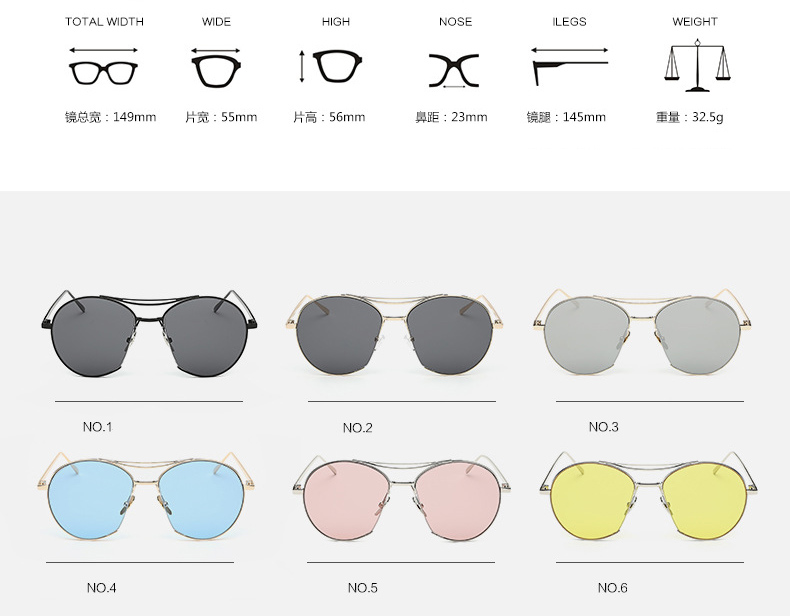 New Fashion Desgin Colorful Unsix Wholesale Glasses UV400 Protect Metal Sunglasses PA935