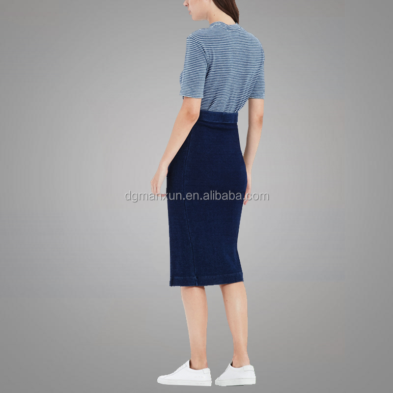 Manxun hotsale energetic denim skirt sexy girls wearing tight split skirt