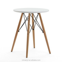 Plastic table MDF leisure black plastic table with beech wood legs TB-12