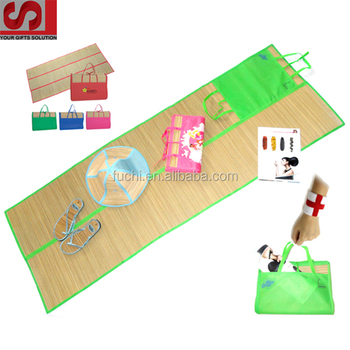 Promotional Gifts of Beach mat Of Folding Straw Beach Mat