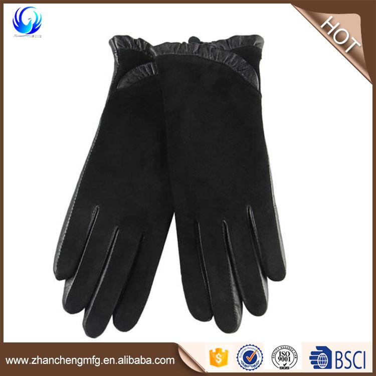 Women Lady's Lambskin Leather Sheep Suede Black Gloves
