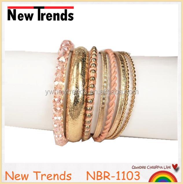 Light pink crystal bracelet set, wide gold couple bracelet set for sale