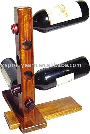 Wooden Wine Bottle Display Rack Holder with 6 Hole 1 Stick 2 Base Board and Durable Structure Stylish Designs for Home Bar Hotel