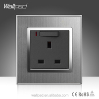 13A UK 1 Gang Switched Socket Wallpad Hotel Luxury Silver Satin Metal 13A 3Pin UK Electrical Switch and Socket with LED Light