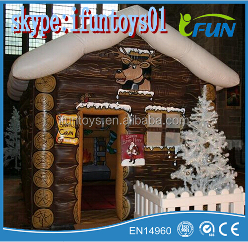 mobile Santa grotto inflatables / inflatable Santa cabin / inflatable Santa cabin for Christmas