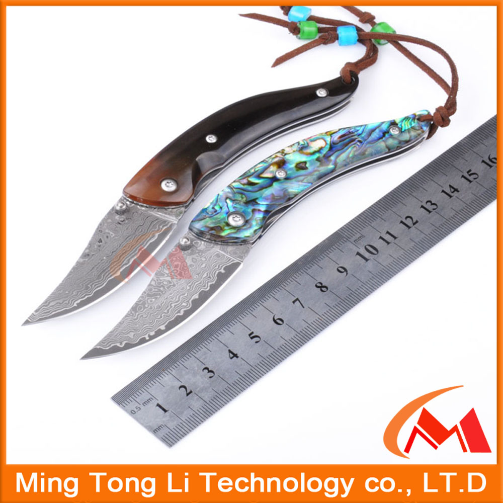 Abalone shell Damascus steel folding pocket knife folding key knife made in China hunting Karambit survival tool