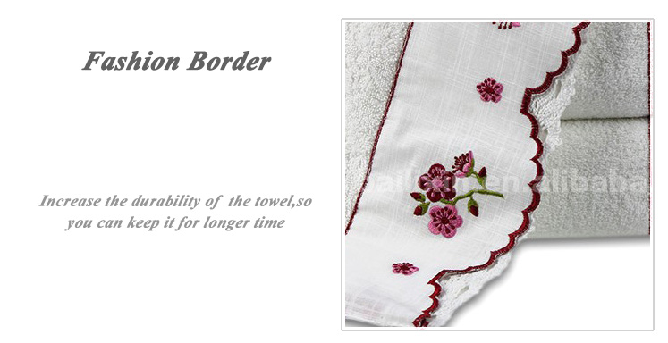 China supplier embroidery lace kikoy white bath towel for sanitary