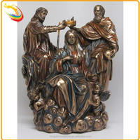 Life Size Holy Bronze Virgin Mary Jesus Statue Wood Carving for Sale